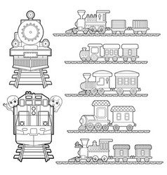 Set of train cartoon train travel with kids vector