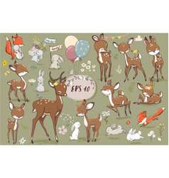 Set with cute hares and deer vector