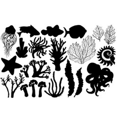 Silhouettes deepwater living organisms fish vector