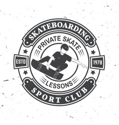 skateboarding sport club badge vector image
