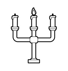 sketch silhouette image candlestick with base and vector image