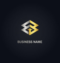 square arrow connect business gold logo vector image
