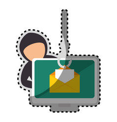 Sticker color silhouette with hacker stealing mail vector