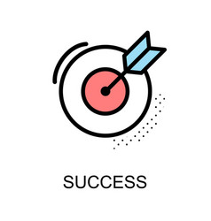 Success icon and arrow with dart board on white vector