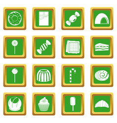 Sweets and candies icons set green vector