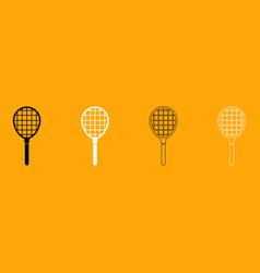 Tennis racquet set black and white icon vector