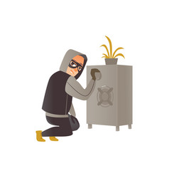 Thief in mask burglar trying to break a safe vector