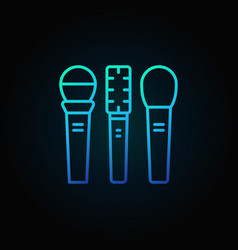 Three microphones blue icon or sign in thin vector