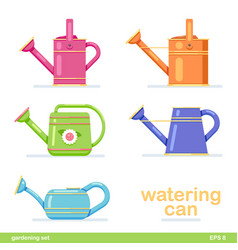 Watering can set different colored flat design vector