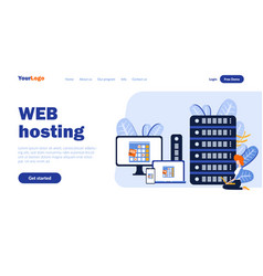 web hosting flat landing page template vector image