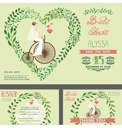 Wedding bridal shower invitationGreen branches vector
