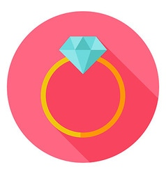 Wedding Ring with Diamond Circle Icon vector image