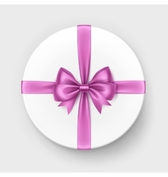 White Gift Box with Pink Bow and Ribbon vector