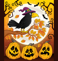 Witch crow theme image 6 vector