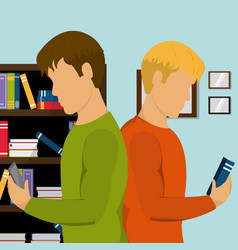 young students in library vector image