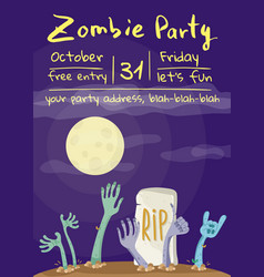 zombie party poster with zombies hands vector image