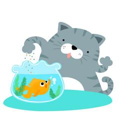fluffy cat feeding happy goldfish vector image vector image