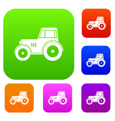tractor set color collection vector image