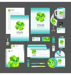 White corporate identity template design green vector image