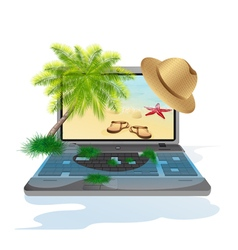 Isolated laptop with seascape vector image