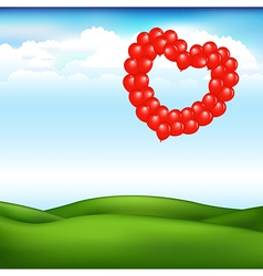Landscape With Balls In Form Of Heart vector image vector image