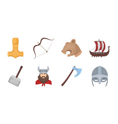 vikings and attributes icons in set collection for vector image