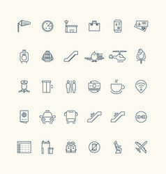airport and aviation line icon collection vector image vector image