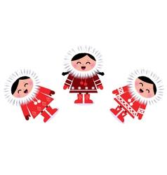 cute eskimo children vector image