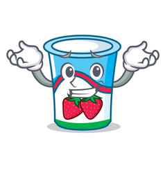 grinning yogurt character cartoon style vector image