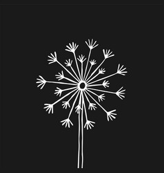 hand drawn black silhouette dandelion on a white vector image