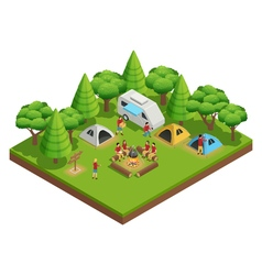 Hiking Isometric Composition vector image