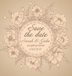 Vintage elegant wedding invitation or card Save vector image
