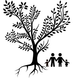 family tree black vector image