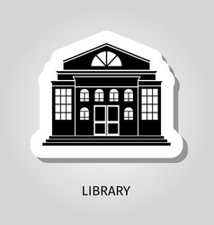 library building black sticker vector image