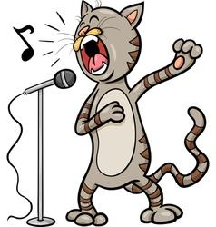 Singing cat cartoon vector