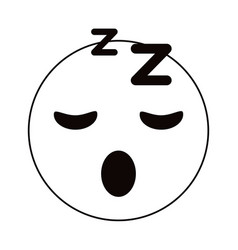 Sleepy emoticon funny thin line vector