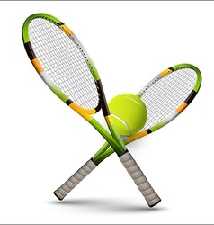Tennis symbols rackets and ball isolated on white vector image vector image