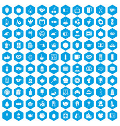 100 breakfast icons set blue vector