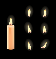 3d realistic candle and different flame vector image