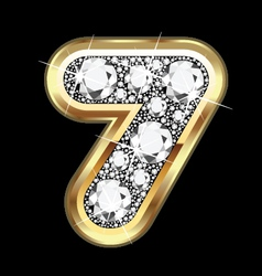 7 number gold and diamond bling vector image