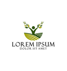 Agro business logo template with farm field vector