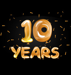 Anniversary celebrations 10 years greeting card vector