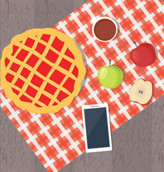 Apple pie and smart phone vector image