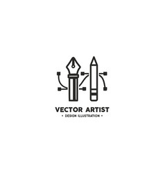 Artist logo template pencil and pen tool vector