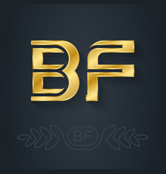 B and f initial golden logo bf - metallic icon vector