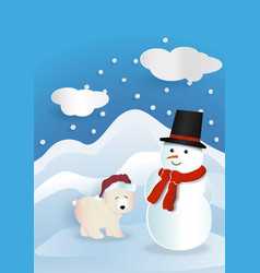 Bear wearing red hat with snowman wearing red vector