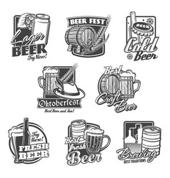 beer alcohol drink icons bottles glasses mugs vector image
