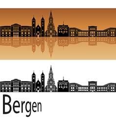 Bergen skyline in orange vector