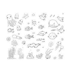 Big set of marine sea theme cute cartoon turtle vector
