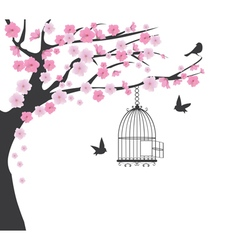 bird cage cherry vector image